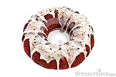 Cake homemade with sugar glaze