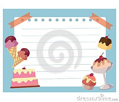 Cake and ice cream frame background