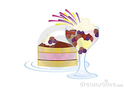 Cake and ice cream with fruits