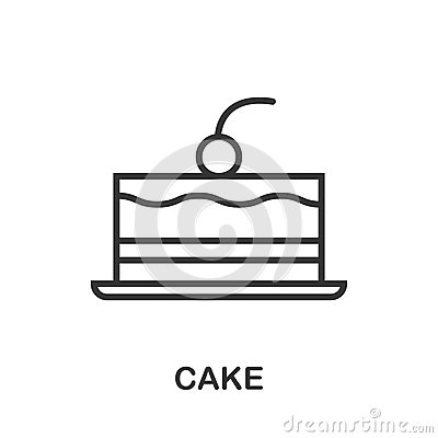 Cake icon or logo line art style. Vector Illustration