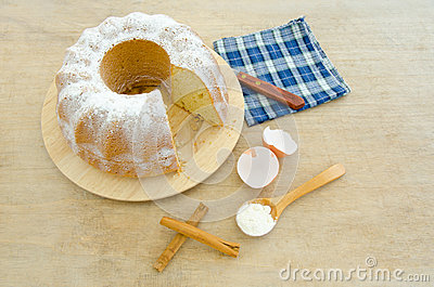 Cake with ingredients