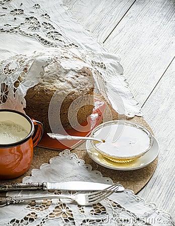 A cake made of maize flour. Retro style.