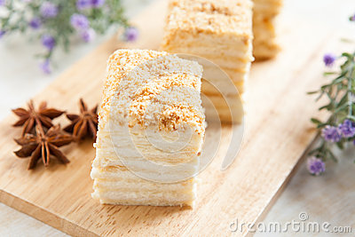 Cake Napoleon of puff pastry with sour cream