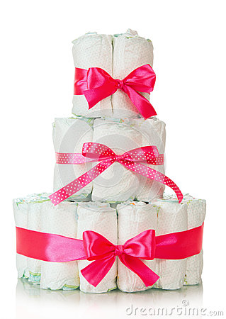 Free Cake Of Diapers Decorated Red Ribbons Stock Photos - 36748983