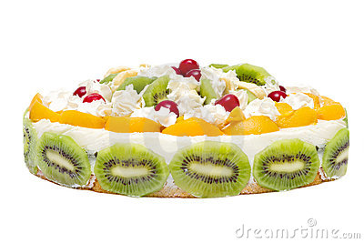 Cake with peaches, kiwi and whipped cream