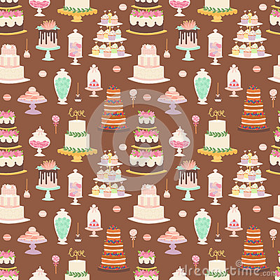 Cake pie tart Happy Birthday cartoon seamless pattern background vector illustration. Vector Illustration