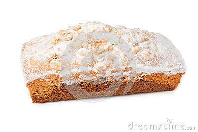 Cake with powdered sugar and peanut