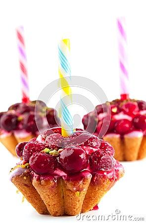 Cake with raspberries and cherries