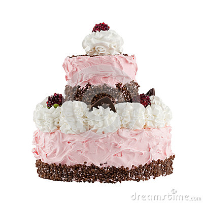 Cake with raspberries; Clipping path