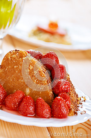 Cake with red strawberries