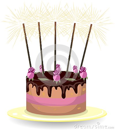 Cake with roses and sparklers Vector Illustration