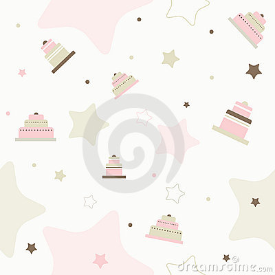 Cake seamless vector pattern