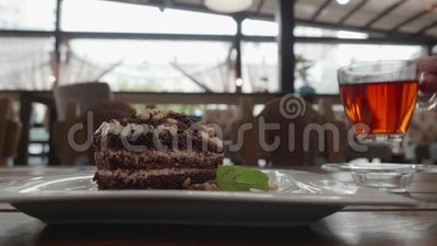 Cake Tea Eat Drink Person Hand Cafe Table Closeup stock video