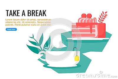Cake and Warm Sweet Tea for Free Time Vector Illustration