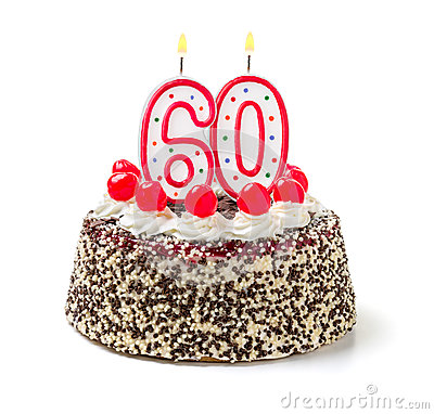 Free Cake With Burning Candle Number 60 Royalty Free Stock Images - 46801559