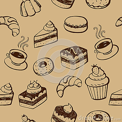 Free Cakes And Desserts Seamless Pattern Royalty Free Stock Images - 29615979