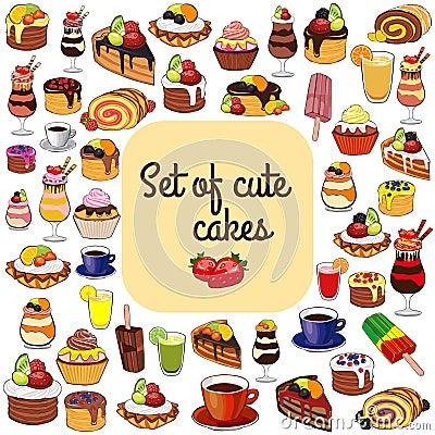 Free Cakes, Coffee And Tea. Royalty Free Stock Photo - 75726395