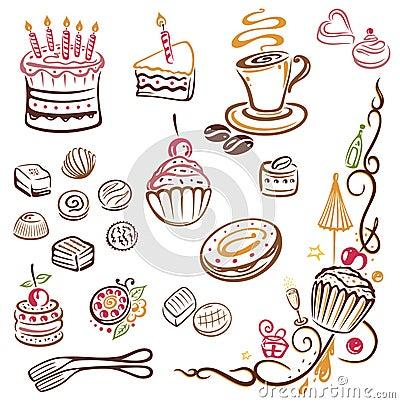 Free Cakes, Coffee, Pralines Royalty Free Stock Photos - 33529478
