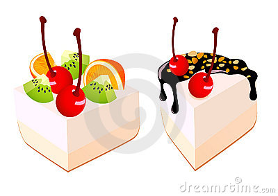 Cakes with fruit