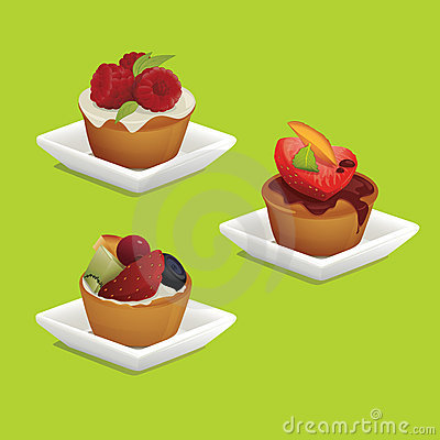 Cakes with fruits