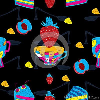 Cakes Futuristic Seamless Pattern with Coffee Cup