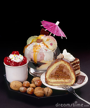 Cakes and ice-cream