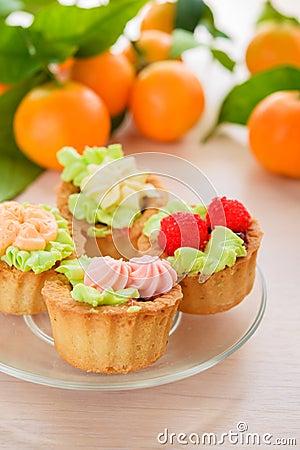 Cakes and mandarins