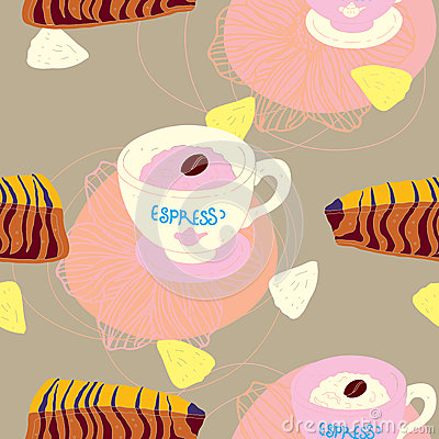 Cakes Seamless Pattern With Coffee Cups