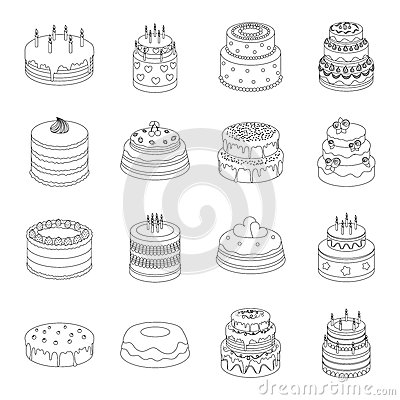 Free Cakes Set Icons In Outline Style. Big Collection Of Cakes Vector Symbol Stock Illustration Stock Photos - 83882123