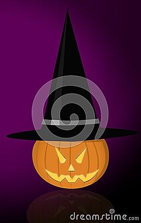 Calabaza malvada con el sombrero de la bruja