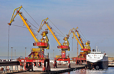 Calais port cranes and quayside Editorial Photography