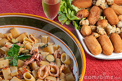 Calamarata with Zucchini Shrimps and Squids