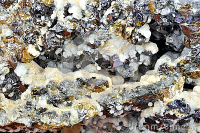 Calcite, galeno, sphalerite