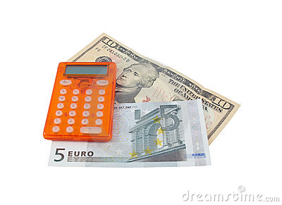 Calculator with 5 euro and 10 dollar banknotes