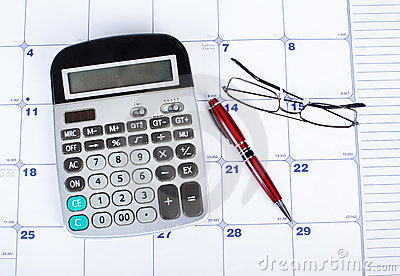 The Calculator And Calendar Royalty Free Stock Photography - Image: 17483887