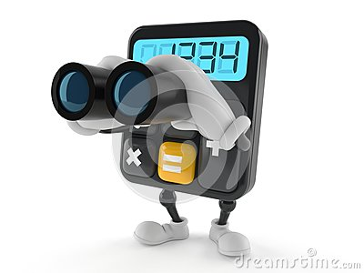 Calculator character looking through binoculars Stock Photo