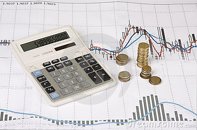 Calculator, coins, pen on Economic graph