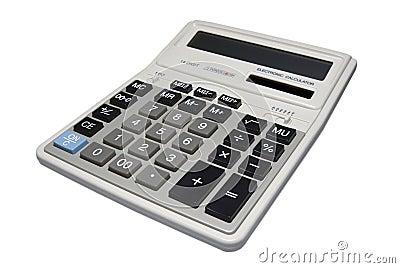 Calculator die met het knippen van weg wordt geïsoleerde.