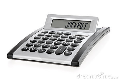 Calculator displaying the word JACKPOT