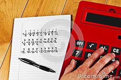 Calculator Hand Equations Pen