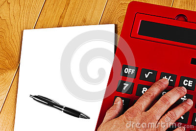 Calculator Hand White Paper Pen