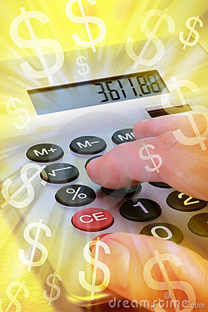 Free Calculator Money Bills Business Stock Photography - 8431112