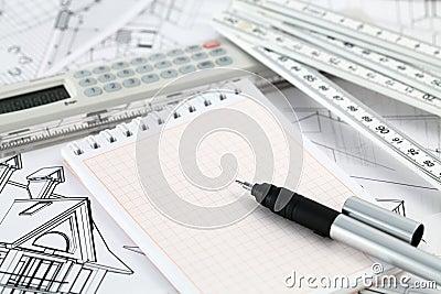 Calculator, notepad, pen & home drawings