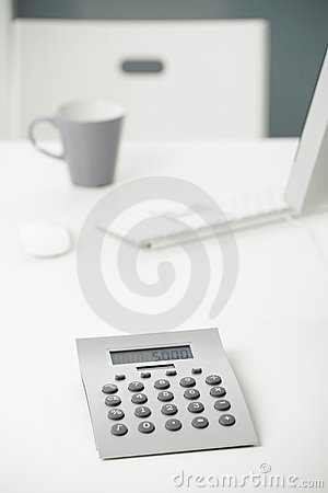Calculator on office desk