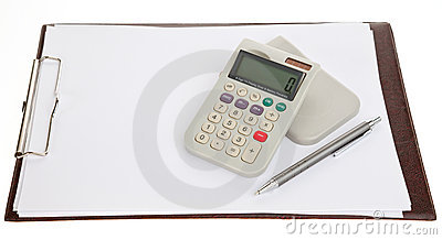 Calculator pen and a blank sheet