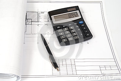 Calculator and pen on the blueprint stock photo image for Blueprint estimator