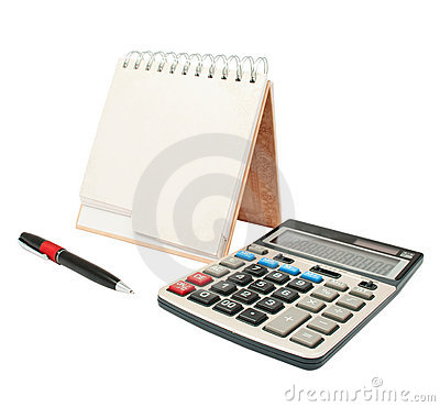 Calculator, a pen, a diary