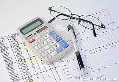 Calculator, pen and graph 1