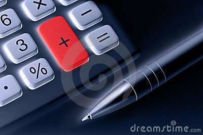Calculator and pen. plus button colored red