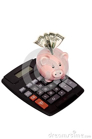 Calculator With Piggy Bank And Money